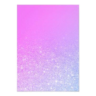 Small Modern Pink Glitter Ombre Purple Sweet 16 Invitation Back View