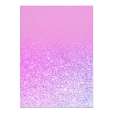 Small Modern Pink Purple Glitter Ombre Photo Sweet 16 Invitation Back View