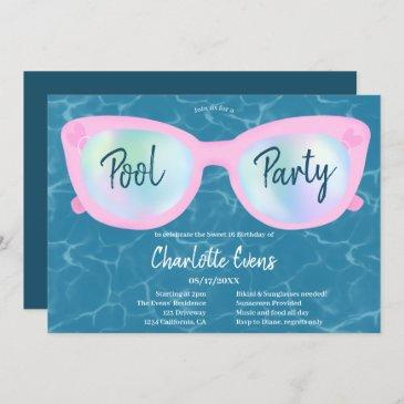 modern pool party holographic glasses sweet 16 invitation