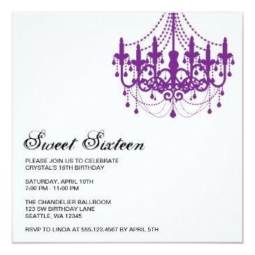 Small Modern Purple Chandelier Sweet Sixteen Birthday Invitations Front View