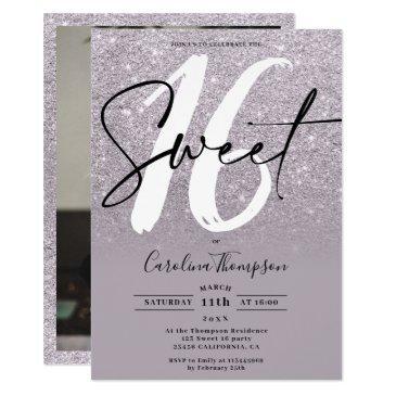modern purple glitter border script photo sweet 16 invitation