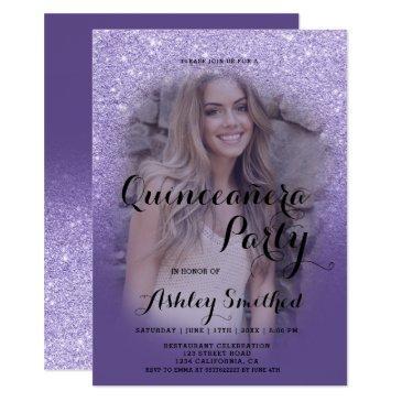 modern purple glitter ombre photo quinceañera invitation