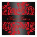 modern red/black rose sweet 16 birthday invite