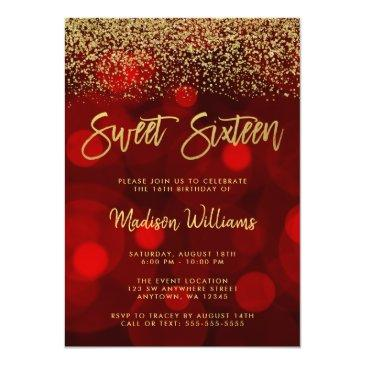 Small Modern Red Bokeh Gold Glitter Sweet 16 Invitation Front View