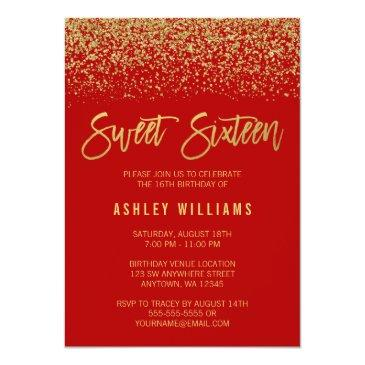 Small Modern Red Faux Gold Glitter Sweet 16 Invitation Front View
