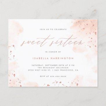 modern rose gold glitter blush pink ombre sweet 16 invitation postinvitations