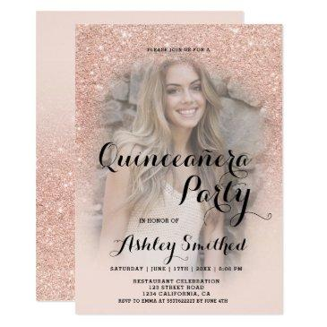 modern rose gold glitter ombre photo quinceañera invitations
