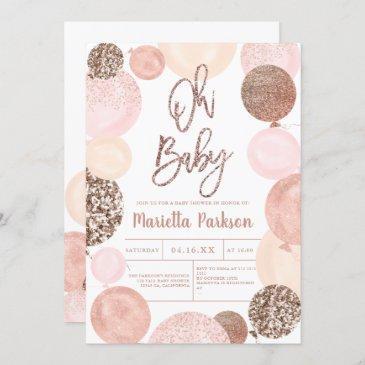 modern rose gold glitter pink balloons baby shower invitation