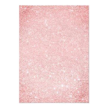 Small Modern Sangria Pink Glitter Elegant Chic Sweet 16 Invitation Back View
