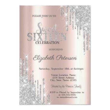Small Modern Silver Glitter Drips Rose Gold Sweet 16 Invitation Front View