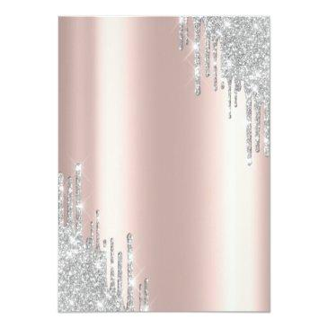 Small Modern Silver Glitter Drips Rose Gold Sweet 16 Invitation Back View