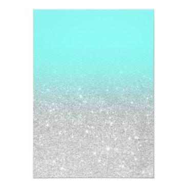 Small Modern Silver Glitter Teal Aqua Photo Sweet 16 Invitations Back View