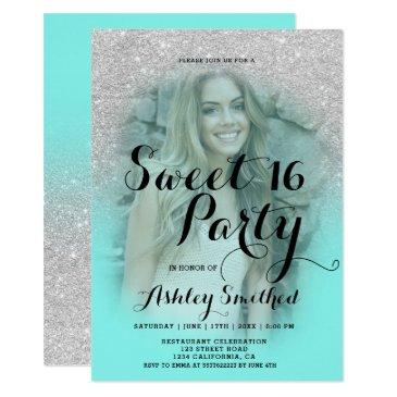 modern silver glitter teal aqua photo sweet 16 invitations