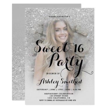 modern sparkle silver glitter ombre photo sweet 16 invitation