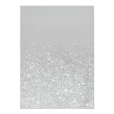 Small Modern Sparkle Silver Glitter Ombre Photo Sweet 16 Invitation Back View