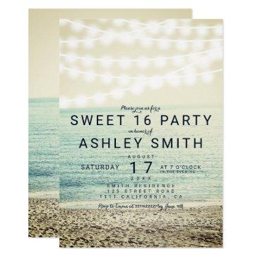 modern string lights beach photo sweet 16