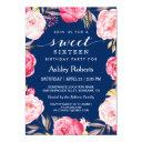 modern sweet 16 birthday navy blue floral wreath invitations