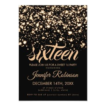 Small Modern Sweet 16 Gold Midnight Glam Invitation Front View
