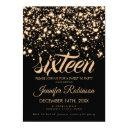modern sweet 16 gold midnight glam invitation