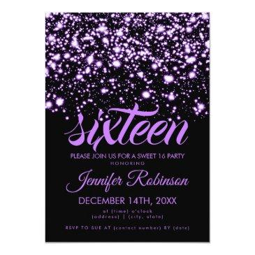 Small Modern Sweet 16 Purple Midnight Glam Invitations Front View