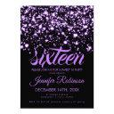 modern sweet 16 purple midnight glam invitation