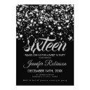 modern sweet 16 silver & black midnight glam invitation