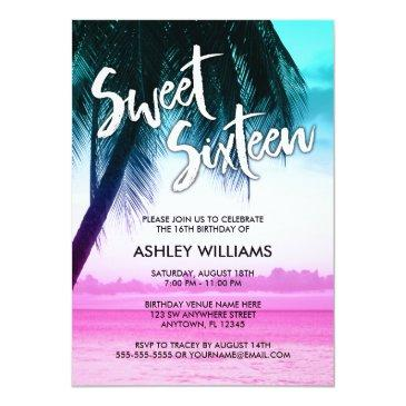 Small Modern Teal Pink Tropical Luau Sweet 16 Invitation Front View