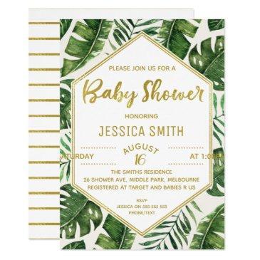 modern tropical foliage baby shower invitation