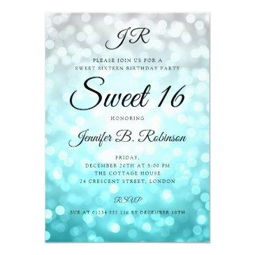 Small Monogram Teal Ombre Lights Sweet 16 Birthday Invitation Front View