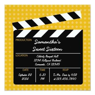 Small Movie Clapboard Sweet Sixteen Birthday Invitation Front View