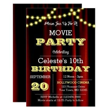movie lights yellow birthday invitation