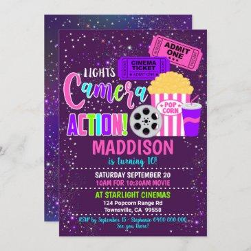 movie party invitation cinema party girl