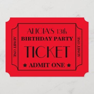 movie ticket birthday party invitation