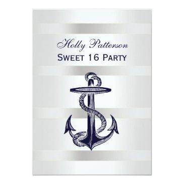 Small Nautical Navy Blue Anchor Silver Wt Bg Sq Sweet 16 Invitation Front View