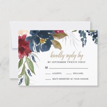 navy blue burgundy blush pink silver gold wedding rsvp invitations