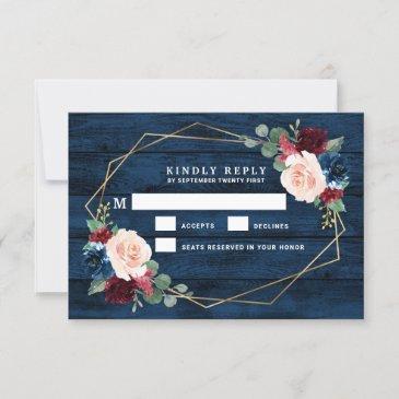 navy blue burgundy gold pink wedding rsvp invitations