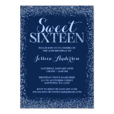 Small Navy Blue Faux Glitter Sweet 16 Birthday Invitation Front View