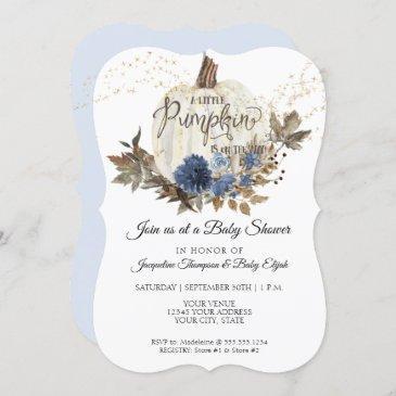 navy blue floral gold white pumpkin baby shower invitation