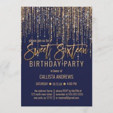 navy blue gold glitter fringe curtain sweet 16 invitation