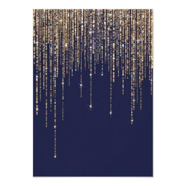 Small Navy Blue Gold Glitter Fringe Curtain Sweet 16 Invitation Back View