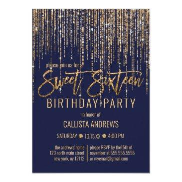 navy blue gold glitter fringe curtain sweet 16 invitation