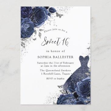 navy blue roses & dress silver sweet 16 party invitation