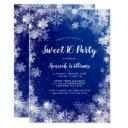 navy blue snowflakes winter wonderland sweet 16 invitations