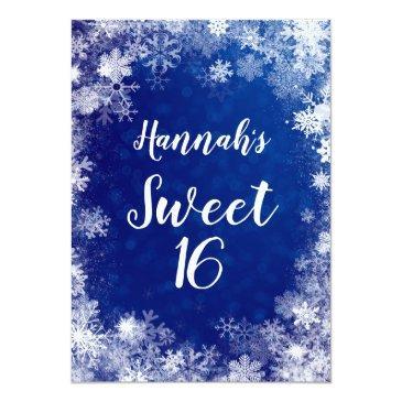 Small Navy Blue Snowflakes Winter Wonderland Sweet 16 Invitation Back View