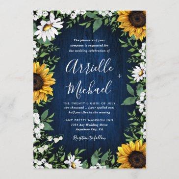 navy blue sunflower rustic wedding invitations
