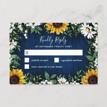 navy blue sunflower rustic wedding rsvp invitations