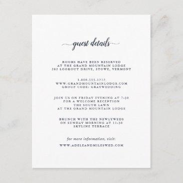 navy blue & white calligraphy guest details invitations