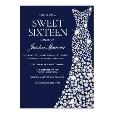 Small Navy Blue White Dress Sweet 16 Invite Front View