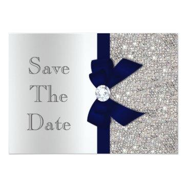 Small Navy Faux Bow & Diamonds Silver Save The Date Invitations Front View