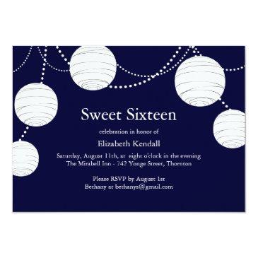 Small Navy Party Lantern Sweet 16 Invitations Front View